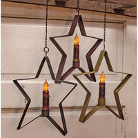 "Country Primitive Medium Hanging Star 4"" Taper Candle Holder - BJS Country Charm"