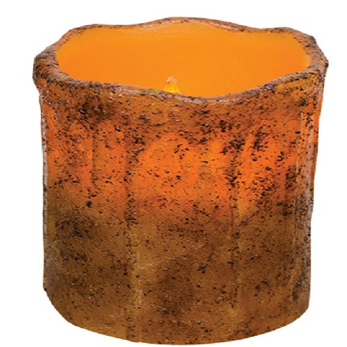 "Primitive 4"" Burnt Mustard Pillar Candle w Timer"