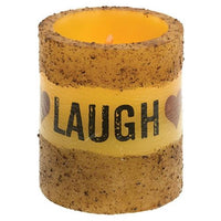 Country Primitive Live Laugh Love Led Pillar Candle w Timer - BJS Country Charm