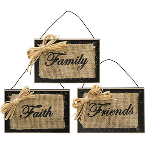 3 Primitive Burlap Sign Ornaments Faith Family Friends