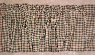 Country Primitive Green Check Homespun Valance Handmade - BJS Country Charm
