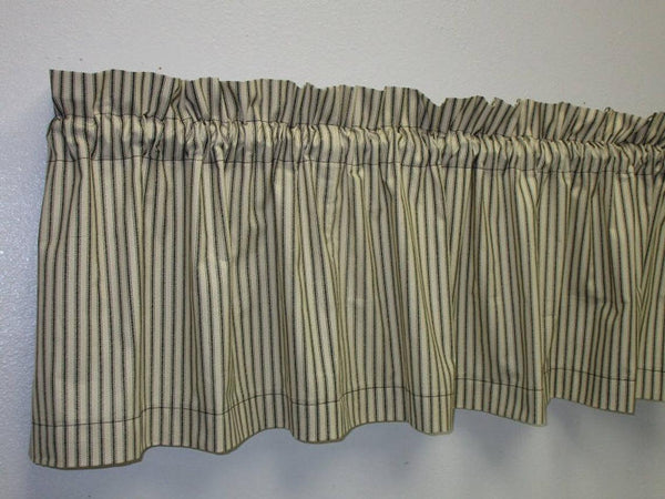 Rustic Country Primitive Farmhouse Black Ticking Valance - BJS Country Charm