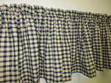 Country Primitive Navy Blue Check Homespun Valance Handmade - BJS Country Charm