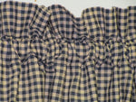 Country Primitive Navy Blue Mini Check Homespun Valance Handmade - BJS Country Charm