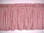 Country Primitive Burgundy Check Homespun Valance Handmade - BJS Country Charm