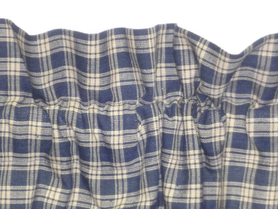 Country Primitive Navy Blue Plaid Homespun Valance Handmade - BJS Country Charm