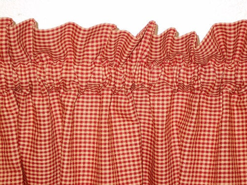 Country Primitive Barn Red & Tan Micro Gingham Homespun Valance Handmade - BJS Country Charm