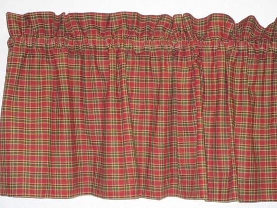 Rustic Country Primitive Burgundy & Green Plaid Homespun Valance Handmade - BJS Country Charm