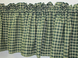 Country Primitive Green Plaid Homespun Valance Handmade - BJS Country Charm