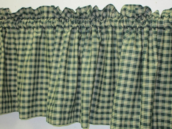 Handmade Country Primitive Green & Tan Plaid Homespun Valance