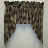 Country Primitive Black & Tan Plaid Homespun Swags - BJS Country Charm