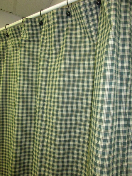 Handmade Primitive Green Plaid Homespun Shower Curtain