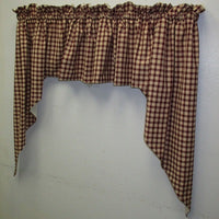 Handmade Burgundy Check Homespun Swags