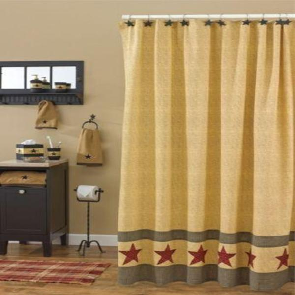 Primitive Country Star Shower Curtain
