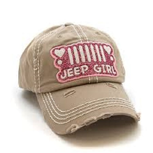 Khaki Jeep Girl Baseball Cap Embroidered Distressed Hat
