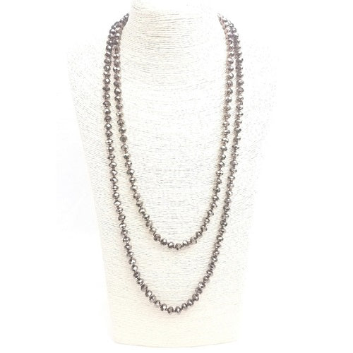 "Light Gray 56"" Faceted Crystal Bead Necklace Knotted - BJS Country Charm"