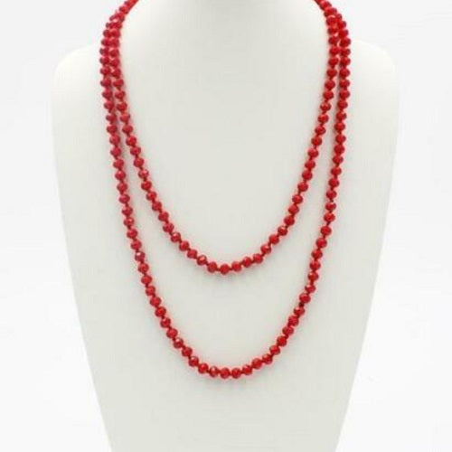 "Bright Red 60"" Faceted Crystal Bead Necklace - BJS Country Charm"