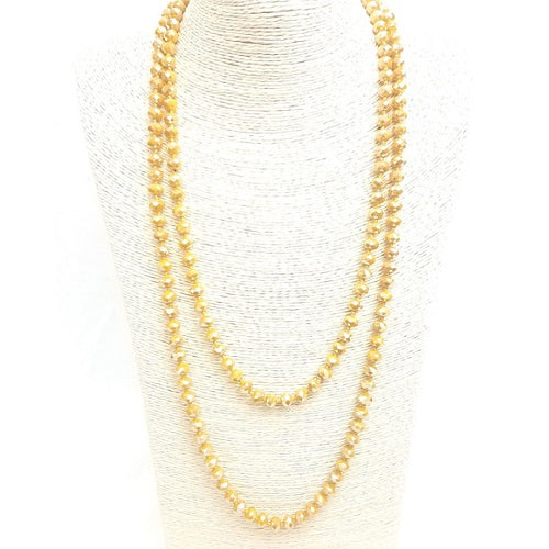 "Mustard 60"" Faceted Bead Necklace Knotted - BJS Country Charm"
