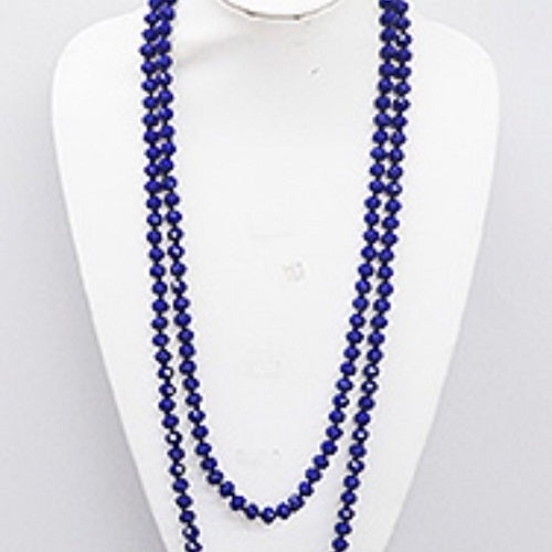 "Navy Blue 60"" Faceted Crystal Bead Necklace Knotted - BJS Country Charm"