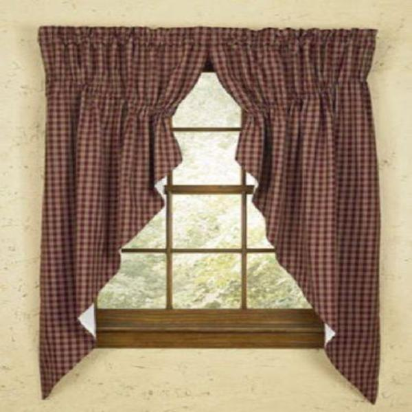Country Primitive Burgundy Plaid Prairie Swags - BJS Country Charm