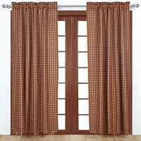 Burgundy Check Scalloped Country Primitive Homespun Curtain