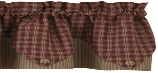Burgundy Plaid Pointed Valance