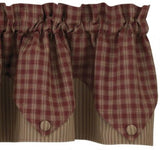 Primitive Burgundy Plaid Pointed Valance