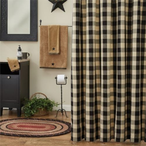 Country Primitive Wicklow Black & Tan Shower Curtain - BJS Country Charm