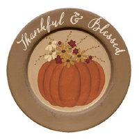 Country Primitive Fall Thanksgiving Plate Thankful & Blessed Pumpkin Shelf Decor