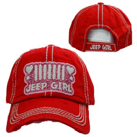 Red JEEP Girl Distressed Baseball Hat - BJS Country Charm