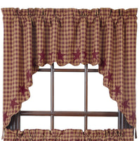 Primitive Burgundy Star Scalloped Swags