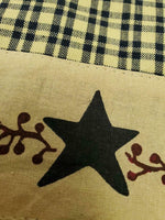 Primitive Berries Hand Towel w Stars & Berry Vines - BJS Country Charm