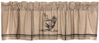 Primitive Sawyer Mill Chicken Stenciled Country Farmhouse Lined Valance - BJS Country Charm