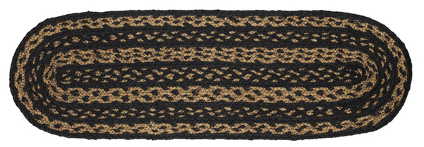 "Country Primitive Farmhouse Braided Table Runner 27"" Oval Black Tan"