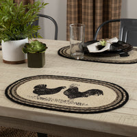 Country Farmhouse Braided Jute Placemat Sawyer Mill Rooster Hen