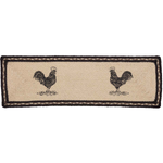 Country Primitive Sawyer Mill Rooster Jute Stair Tread Table Runner 27""