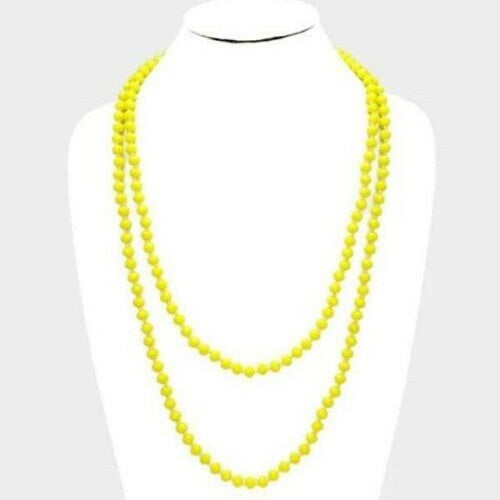 "60"" Bright Yellow Faceted Crystal Bead Necklace Knotted - BJS Country Charm"