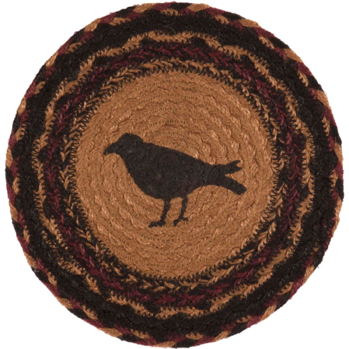 "Country Primitive Heritage Farms Crow Trivet Candle Mat 8"" Rustic Table Decor - BJS Country Charm"