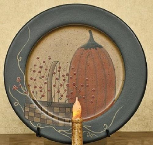 Country Primitive Pumpkin Berry Basket Fall Decorative Plate Thanksgiving Decor
