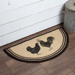 Rustic Farmhouse Sawyer Mill Rooster & Hen Rug Slice Country Primitive Decor