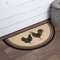 Rustic Farmhouse Sawyer Mill Rooster & Hen Rug Slice Country Primitive Decor - BJS Country Charm