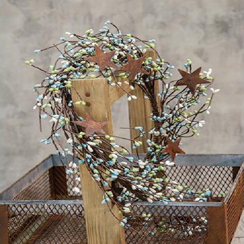 "Country Primitive Seabreeze Pip Berry 40"" Garland With Stars - BJS Country Charm"