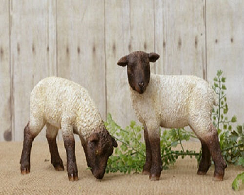 2 Country Primitive Grazing Sheep Figurines
