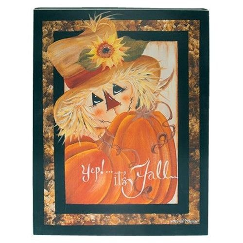 Rustic Country Primitive Fall Scarecrow Sign Thanksgiving Wall Decor
