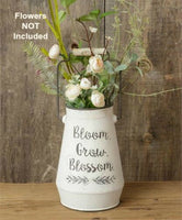 Country Farmhouse White Bloom Grow Blossom Bucket Pail Vase