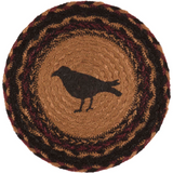 "Country Primitive Heritage Farms Crow Trivet Candle Mat 8"" - BJS Country Charm"