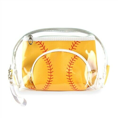 Clear Softball Pattern Transparent Cosmetic Travel Pouch Bag 3pc Set - BJS Country Charm