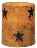 "3.5"" Burnt Mustard Black Star Pillar Candle w Timer"
