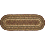 "Country Primitive Tea Cabin Braided Jute Table Runner 36"" Oval"