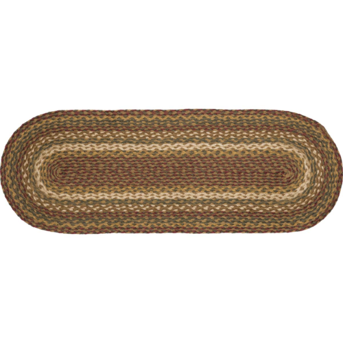"Country Primitive Tea Cabin Braided Jute Table Runner 36"" Oval - BJS Country Charm"